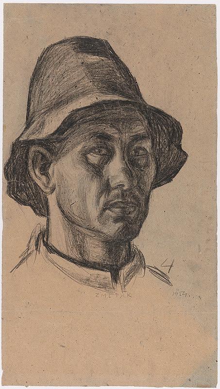 Ernest Zmeták - Štúdia autoportrétu v klobúku