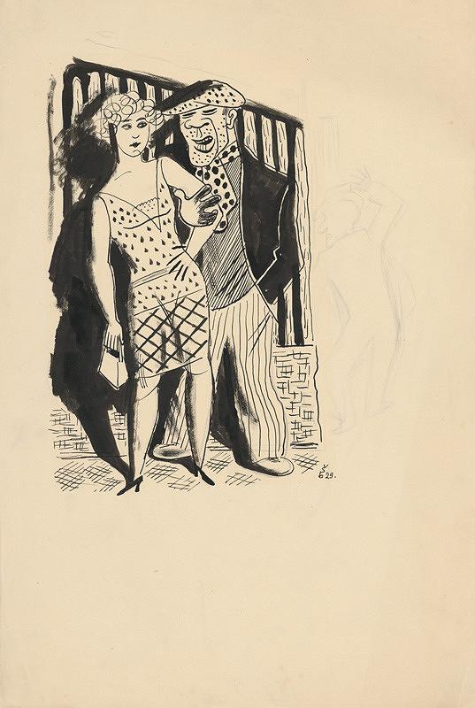 Štefan Bednár - Dvojica v nočnej ulici 1929