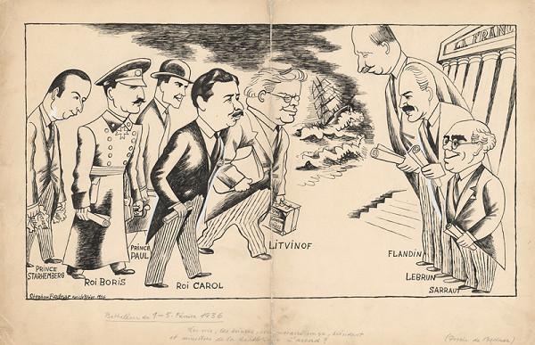 Štefan Bednár – Zasadnutie kráľov vo Francii. 1936. Paródia na príchod kráľov do Betlehema.