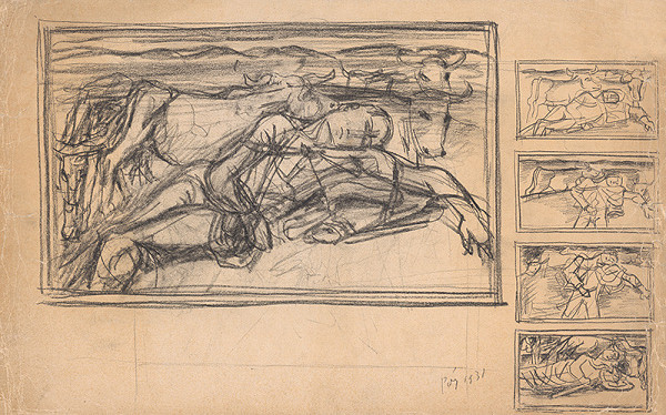 Bertalan Pór – Kompozičná skica k obrazu Odpočívajúci pastier