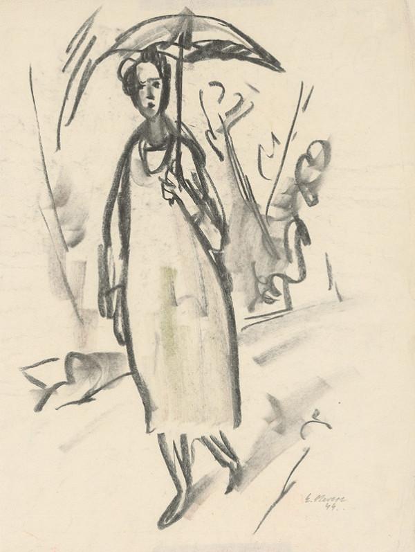 Eugen Nevan - Žena s dáždnikom - 1944