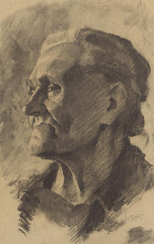 Koloman Sokol - Štúdia ženskej hlavy z profilu