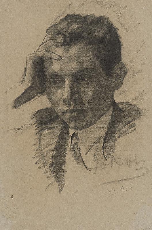 Koloman Sokol - Štúdia chlapca podopierajúceho si hlavu 1926