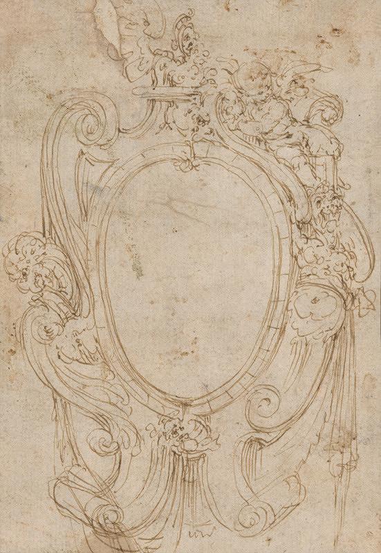 Taliansky majster z 2. polovice 16. storočia – Náčrt kartušového rámu