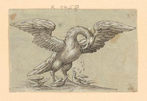 Taliansky majster zo 17. storočia - Mytologický vták kŕmiaci krvou svoje mláďatá
