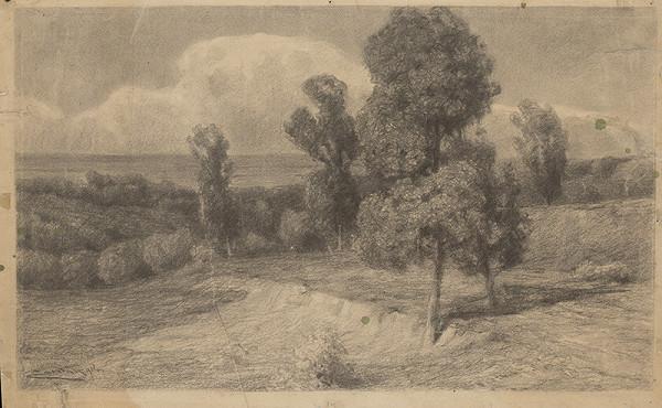 Ľudovít Čordák - Krajina so stromami v letnom slnci