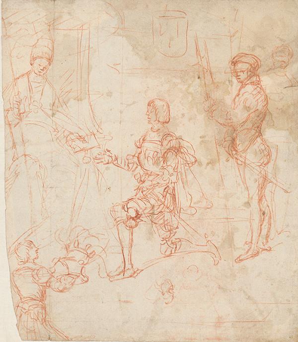 Stredoeurópsky maliar z 18. storočia – Štúdia k figurálnej kompozícii s pápežom a rytierom