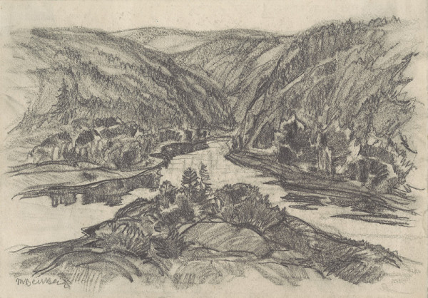 Martin Benka – Štúdia k obrazu Na rieke Orave