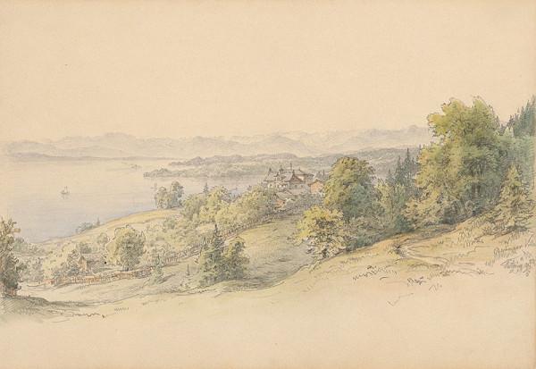 Karol Ľudovít Libay – Pohľad na vilu Beringer s panorámou krajiny