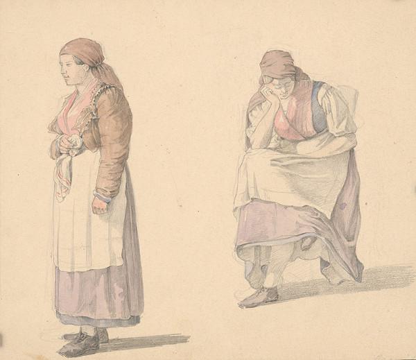 Karol Ľudovít Libay – Štúdia stojacej a sediacej ženy
