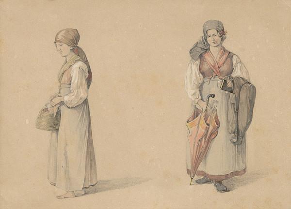 Karol Ľudovít Libay – Stojaca žena z en face a z profilu
