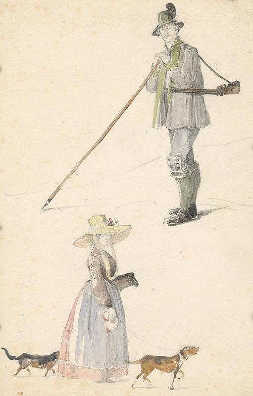 Karol Ľudovít Libay – Štúdia poľovníka a ženy so psami
