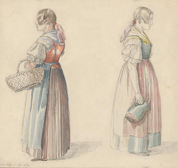 Karol Ľudovít Libay – Štúdia dvoch žien s krčahom a košíkom