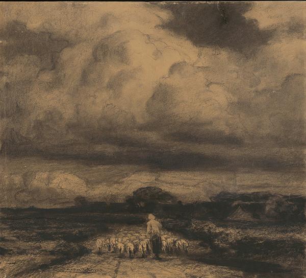 Ľudovít Čordák - Krajina s pastierkou a stádom oviec