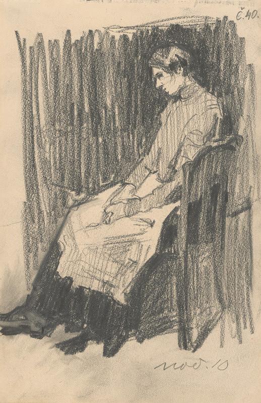 Eduard Putra - Štúdia sediacej ženy so zásterou