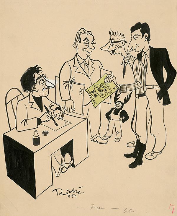 Alexander Richter – Karikaturisti Roháča smútia: Bednár: Škoda,že odišiel. Weisskopf: Akože? Roháč: Bol veľmi dobrý ... Richter: Čo to tárate? Kubal: No áno,na karikatúru!