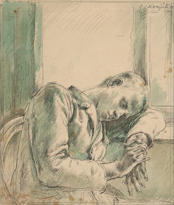 Gyula Komjáti - Štúdia spiaceho mladého muža