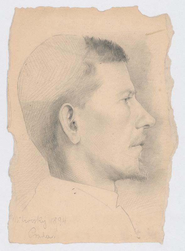 Milan Thomka Mitrovský - Štúdia hlavy muža s krátkou briadkou