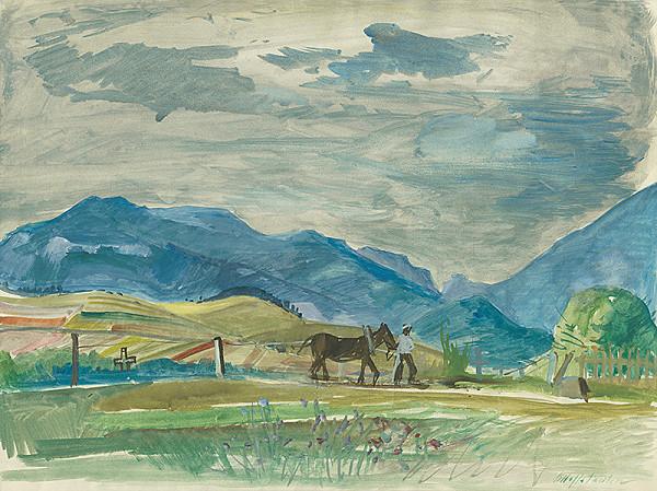 Bedrich Hoffstädter - Liptovská krajina s koníkom