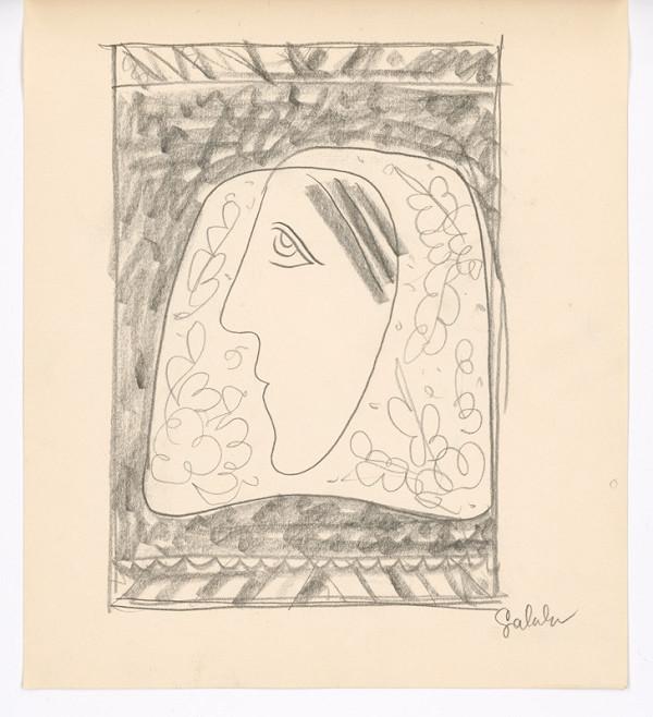 Mikuláš Galanda – Hlava ženy v kvetovanej šatke