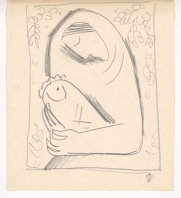 Mikuláš Galanda - Náčrt matky s dieťaťom v perinke