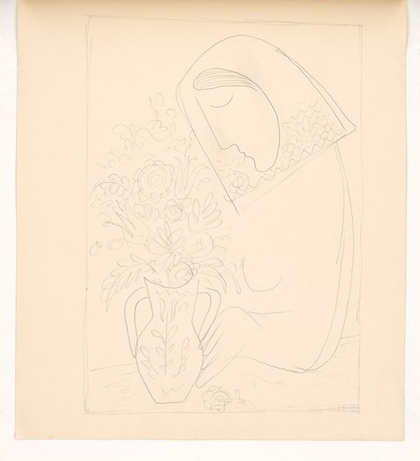 Mikuláš Galanda - Náčrt ženy s kyticou v džbáne