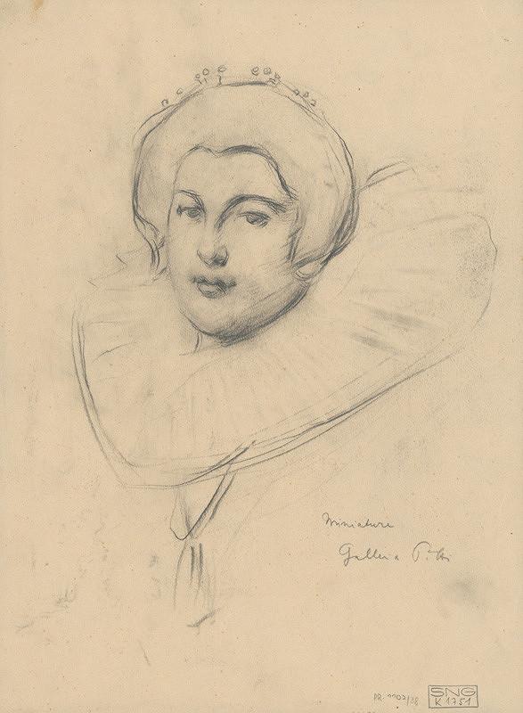 Milan Thomka Mitrovský – Štúdia ženskej hlavy podľa miniatúry v galérii PITTI