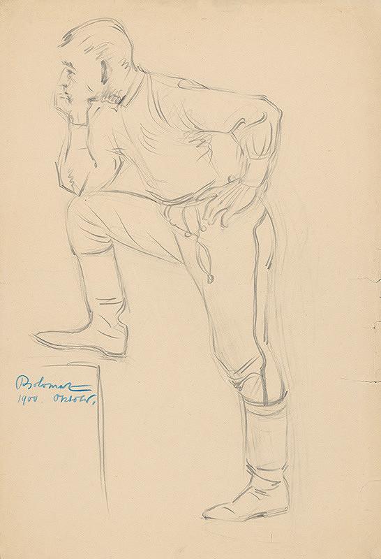 Milan Thomka Mitrovský – Štúdia mladého muža v ľudovom odeve podopierajúceho sa lakťom o vyloženú nohu