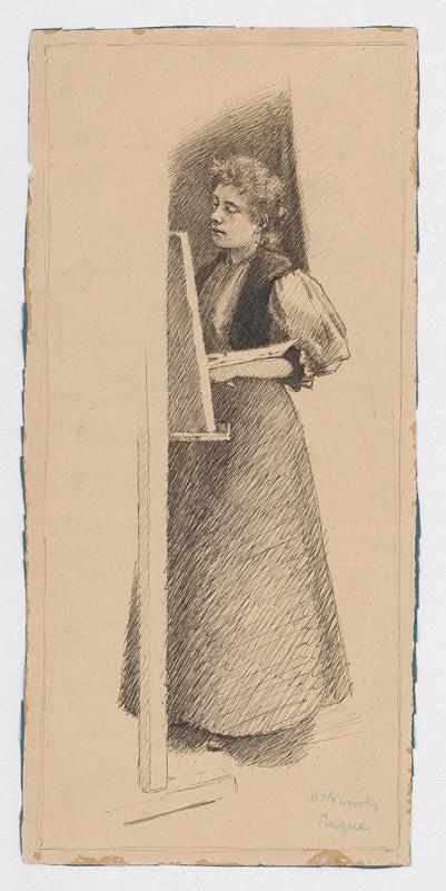 Milan Thomka Mitrovský - Štúdia ženy pracujúcej pri maliarskom stojane