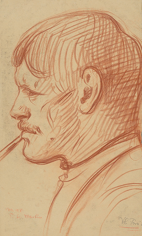 Milan Thomka Mitrovský - Portrétna štúdia muža z profilu