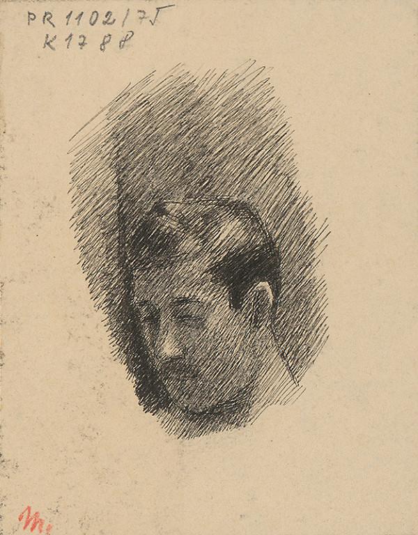 Milan Thomka Mitrovský – Štúdia hlavy muža s krátkymi fúzikmi