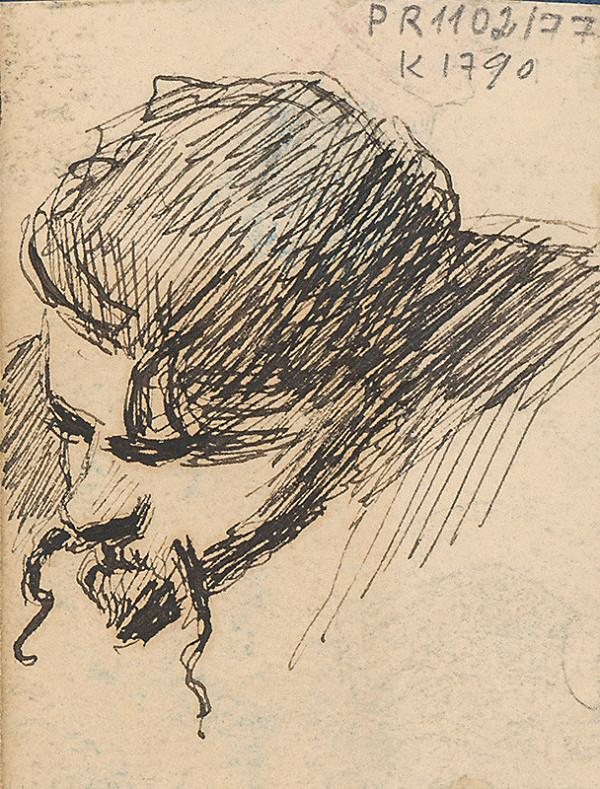 Milan Thomka Mitrovský - Štúdia hlavy muža s dlhými fúzami