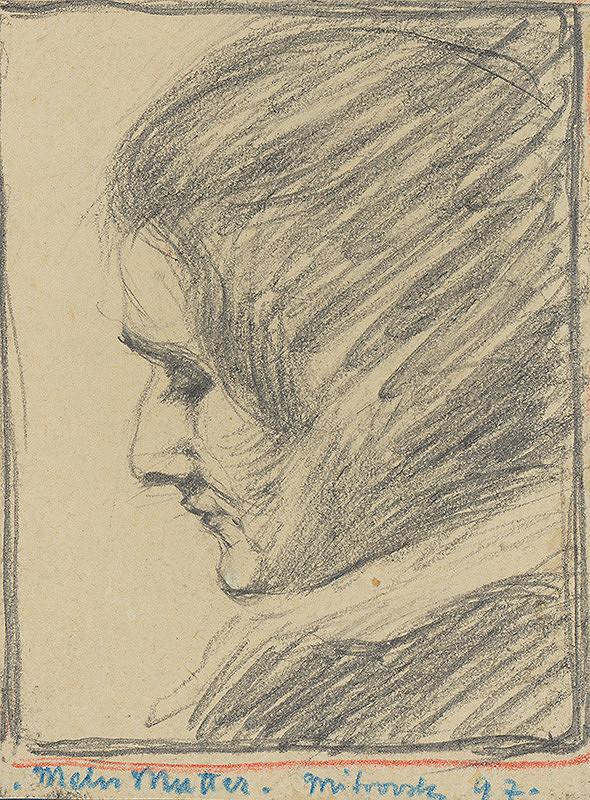 Milan Thomka Mitrovský - Štúdia hlavy umelcovej matky