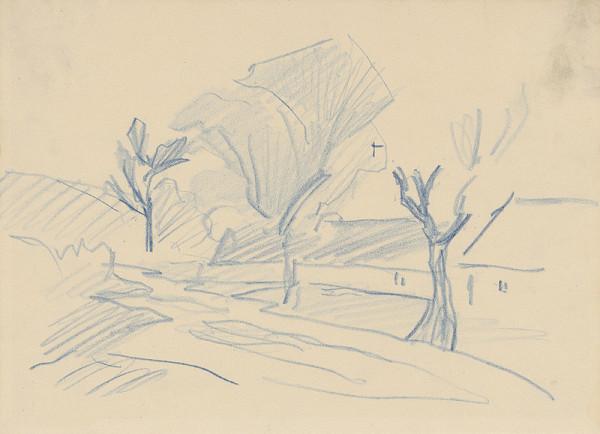 Ferdinand Katona - Poľná cesta lemovaná osamelými domami