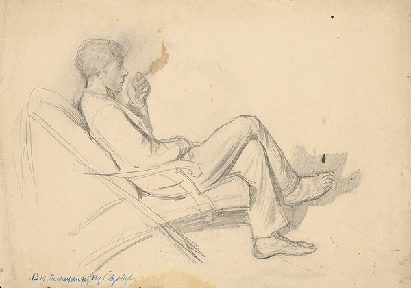 Ladislav Mednyánszky - Sediaci mládenec v kresle
