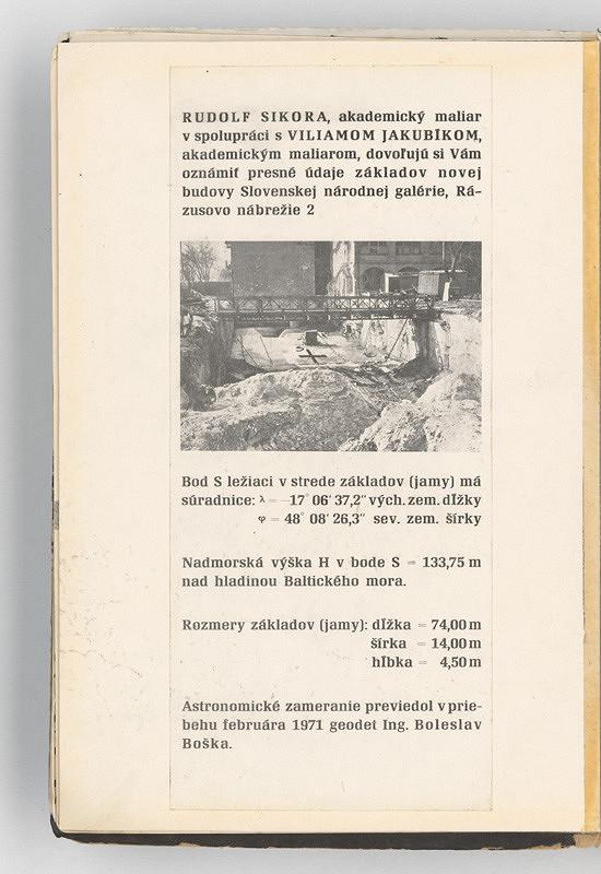 Rudolf Sikora - Základy novej budovy SNG