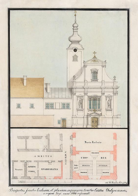 Konrád Švestka – Návrh na priečelie kostola a pôdorys