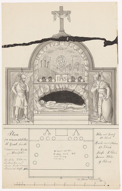 Konrád Švestka - Návrh na stabilný sv. hrob pre františkánsky Kostol sv. Jána Krstiteľa v Bardejove