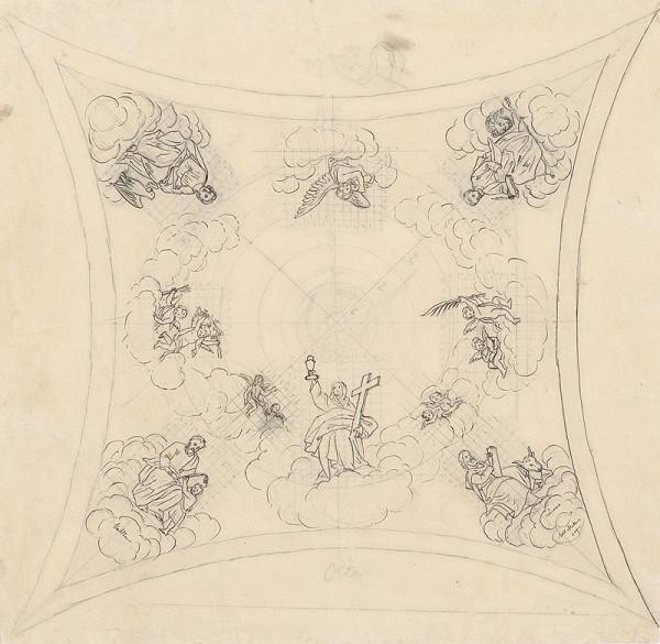Konrád Švestka - Návrh na stropnú maľbu s motívom štyroch evanjelistov