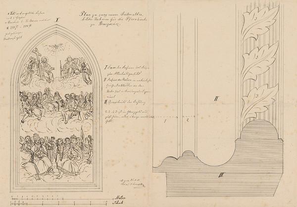Konrád Švestka – Plán na dva oltáre (bočný oltár) a rámy pre farský kostol v Berehovciach