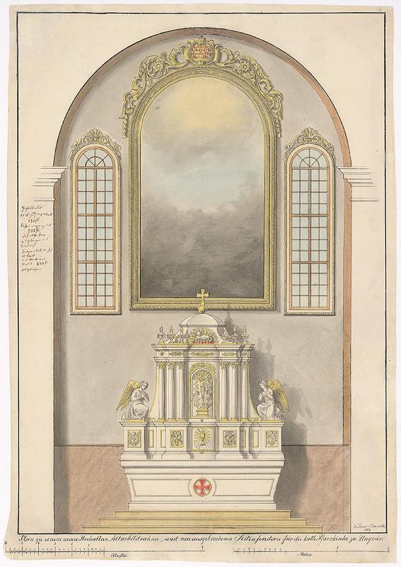 Konrád Švestka - Návrh na hlavný oltár, oltárne rámy a bočné okná pre farský kostol v Užhorode