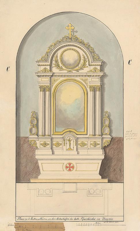 Konrád Švestka – Návrh na bočný oltár pre farský kostol v Užhorode