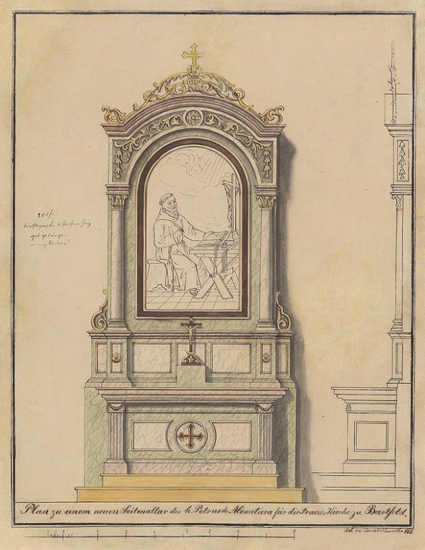 Konrád Švestka – Návrh na nový bočný Oltár sv. Petra z Alkantry pre františkánsky Kostol sv. Jána Krstiteľa v Bardejove