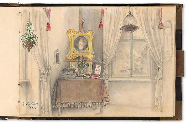 Viktor Odescalchi – Interiér salóna grófky Henriety Odescalchi vo Viedni s portrétom jej syna od Friedricha Amerlinga