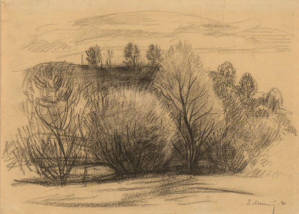 Dezider Milly - Štúdia krajiny so stromami