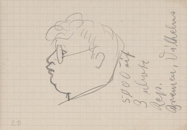 Arnold Peter Weisz-Kubínčan – Skicár 5 Hlava muža v okuliaroch