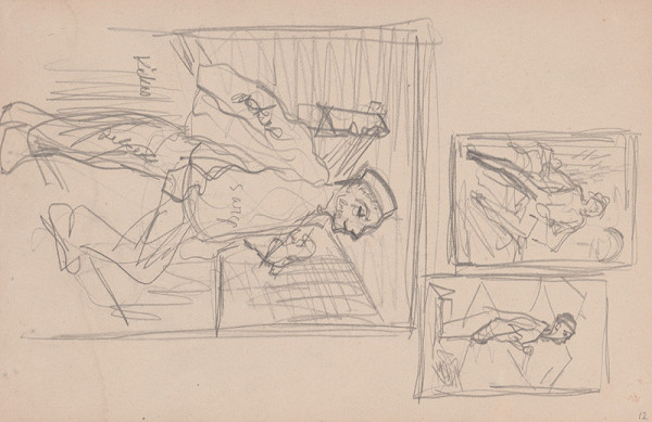 Arnold Peter Weisz-Kubínčan – Skicár 11 Tri skice muža