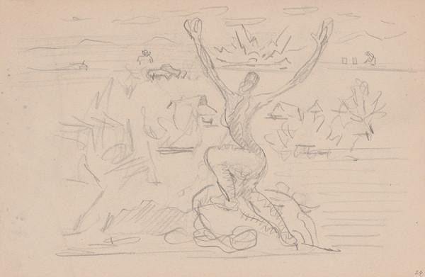 Arnold Peter Weisz-Kubínčan – Skicár 11 Postava s rukami hore