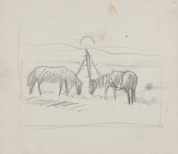 Arnold Peter Weisz-Kubínčan – Skicár 14 Pasúce sa kone
