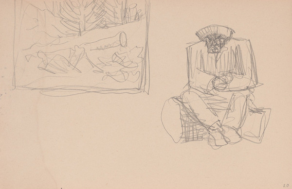 Arnold Peter Weisz-Kubínčan – Skicár 15 Skica krajiny a sediaci muž